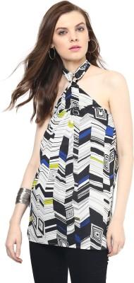 Rose Vanessa Casual Sleeveless Printed Women's White Top