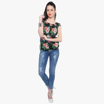 Fashionwardrobe Casual Cape Sleeve Floral Print Women,s Black Top