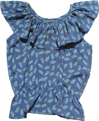 Babeezworld Casual Sleeveless Printed Girl's Blue Top