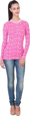 Hlsangam Casual Full Sleeve Self Design Women's Pink Top