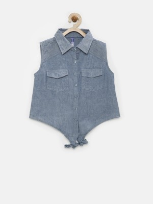 Yk Casual Sleeveless Solid Girl's Blue Top
