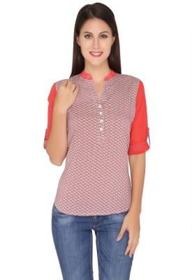 Girl Next Door Casual Roll-up Sleeve Printed Women's Pink Top