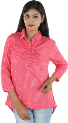 Aimeon Casual Full Sleeve Solid Women's Pink, White Top