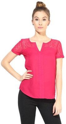 The Vanca Formal Short Sleeve Self Design Women's Pink Top at flipkart