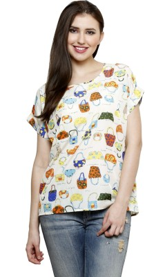 Dhrohar Casual Short Sleeve Graphic Print Women,s Yellow Top