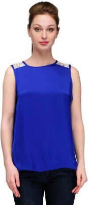 Kami Casual Sleeveless Solid Women,s Blue Top