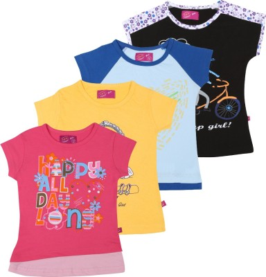 Spn Garments Casual Short Sleeve Printed Girl,s Black, Red, Blue, Yellow Top