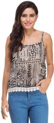 Rigo Casual Sleeveless Printed Women's Black Top