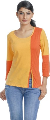 Butterfly Wears Casual Full Sleeve Solid Women's Yellow, Orange Top