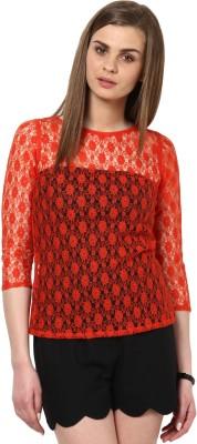 Calgari Casual 3/4 Sleeve Solid Womens Orange Top
