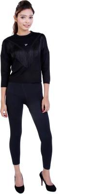 Ameri Casual 3/4 Sleeve Embellished Women's Black Top