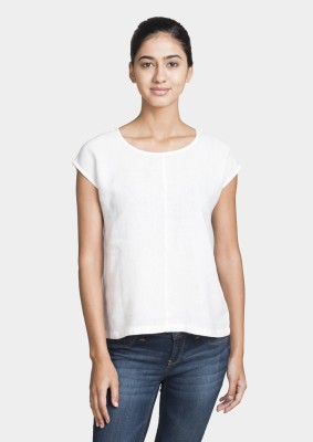 Bhane Casual Sleeveless Solid Women's White Top