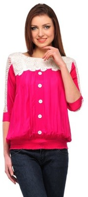PINK SISLY Casual 3/4 Sleeve Solid Women's Pink Top