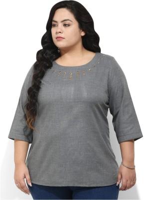 Amydus Casual 3/4 Sleeve Self Design Women's Grey Top