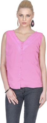 Aussehen Casual Sleeveless Solid Women's Pink Top