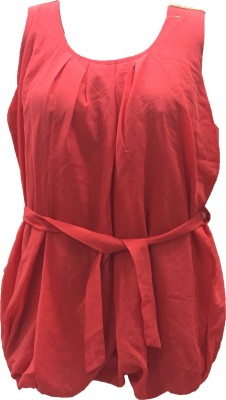 Dovekie Casual Sleeveless Self Design Women's Red Top