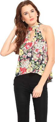Blue Sequin Casual Sleeveless Floral Print Women's Yellow, Pink Top