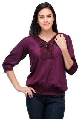 PINK SISLY Casual 3/4 Sleeve Solid Women's Purple Top