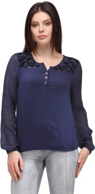 Curvy Q Casual Short Sleeve Solid Women's Blue Top