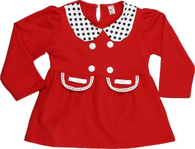 Lilpicks Couture Casual Full Sleeve Solid Girl's Red Top