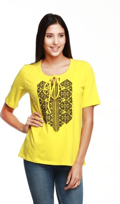 Guapa Spain Casual Short Sleeve Embroidered Women's Yellow Top