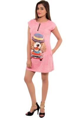 Feminine Casual Short Sleeve Printed Women's Pink Top