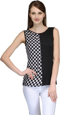 Natty India Casual Sleeveless Checkered Women's Black, White Top