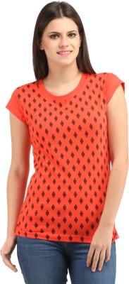 Styllia Casual Cape Sleeve Printed Women's Orange Top