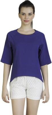 Vivante by VSA Casual 3/4 Sleeve Solid Women's Dark Blue Top
