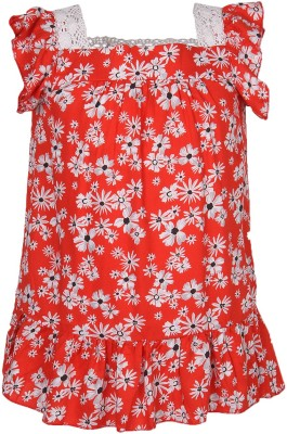 Cool Quotient Casual Cap sleeve Printed Girl's Red Top
