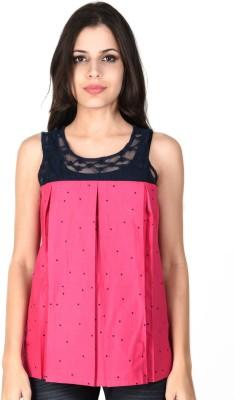 SHIBORI Casual Sleeveless Polka Print Women's Pink Top