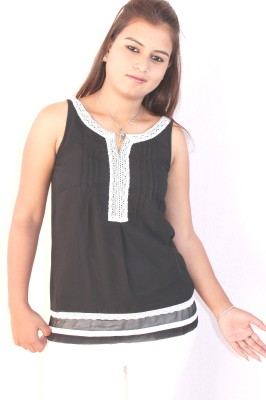 Mittal Casual Sleeveless Solid Women's Black Top