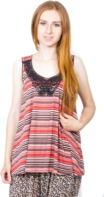 Dream of Glory Inc. Casual, Party Sleeveless Striped Women's Multicolor Top