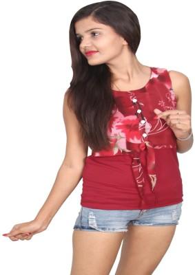 Vanya Enterprises Casual Sleeveless Floral Print Women's Maroon Top