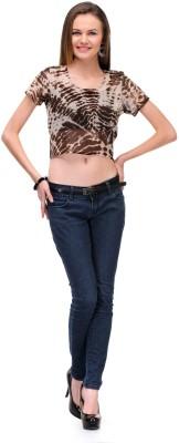 1OAK Casual Short Sleeve Printed Women's Brown Top