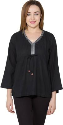 Vasstram Casual 3/4 Sleeve Solid Women's Black Top