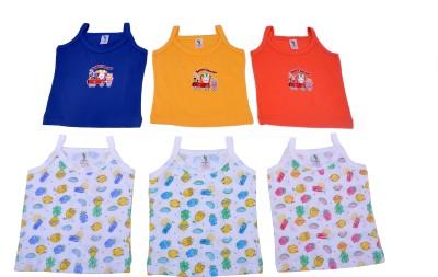 Cucumber Casual Sleeveless Printed, Self Design Baby Girl's Blue, Yellow, Orange Top