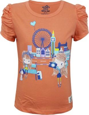 Kothari Casual Short Sleeve Printed Girl's Orange Top