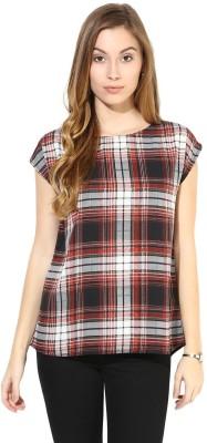 La Zoire Casual, Party Short Sleeve Printed, Checkered Women's Black, Multicolor Top