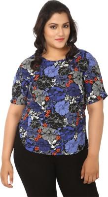 LASTINCH Casual Short Sleeve Printed Women's Blue Top at flipkart