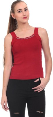 Claude 9 Casual Sleeveless Solid Women's Maroon Top
