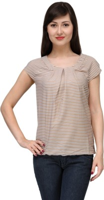 India Inc Casual Short Sleeve Striped Women's Beige Top