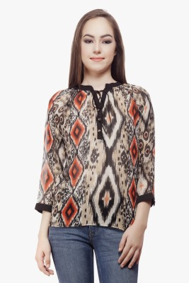 Miss Queen Casual 3/4 Sleeve Printed Women's Beige Top