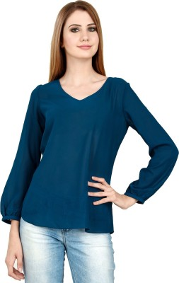 LA ATTIRE Casual Full Sleeve Solid Women's Blue Top