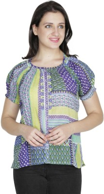 Old Tailor Casual Short Sleeve Geometric Print Women's Purple Top