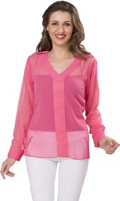 Ishindesignerstudio Party Full Sleeve Solid Women's Pink Top