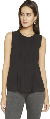 Globus Casual Sleeveless Solid Women's Brown Top