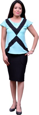 Change360?? Formal, Casual, Party Short Sleeve Solid Women's Blue Top