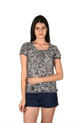 French Creations Casual Short Sleeve Printed Women's Black Top