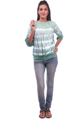 La Divyyu Party 3/4 Sleeve Printed Women's Green Top